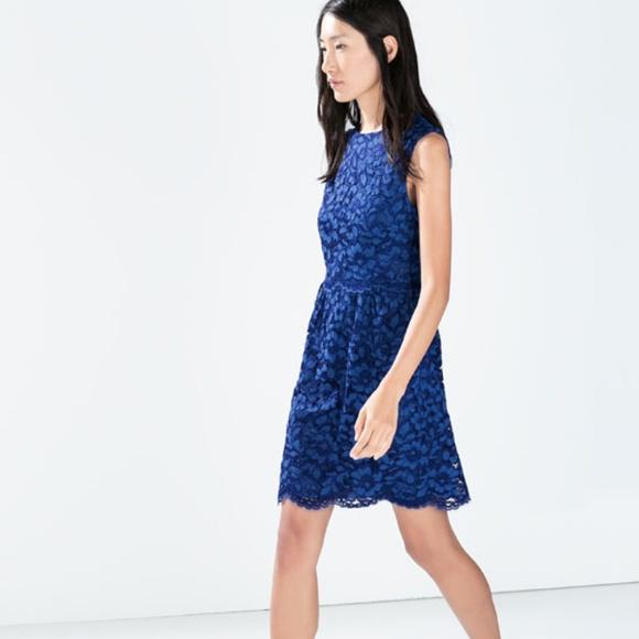 Zara Dresses & Skirts - Zara Blue Lace Sheath Dress Sleeveless Mini